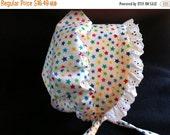 HALF PRICE til July 2 STARS Sunbonnet sunhat baby toddler bonnet, primary colors