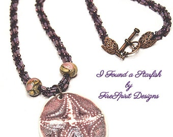 Beadwoven Rope Necklace- I Found a Starfish- handmade necklace- art to wear- wearable art- OOAK necklace- starfish necklace- lampwork beads