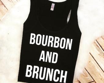 Trendy Foodie Women's Brunch and Bourbon Food Booze Gym Racer Back Tank Top Shirt Custom Colors, Plus Size 2x 3x 4x