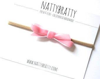 Velvet Bow Headband - Baby Headband - Newborn Headband - Sweet Mini Bow - Baby Girl Gift - Simple Modern Velvet Ribbon Bow - Peachy Pink