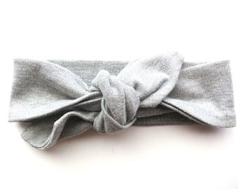 Heather Grey Baby Headband - Top Knot Headband - Stretch Headband - Vintage Style - Beach Style Modern Baby - Gray