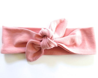 Dusty Pink Baby Headband - Top Knot Headband - Stretch Headband Vintage Style - Boho Baby - Peachy Pink - Blush Pink - Light Rose Baby Pink