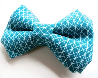 Boys Bow Tie - Baby Toddler Bow Tie - Adjustable Velcro or Clip On - Ring Bearers, Weddings - Teal Blue Turquoise Geometric Triangle Check