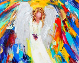 Angel and Butterfly painting original oil 12x12 abstract palette knife impressionism on canvas fine art by Karen Tarlton