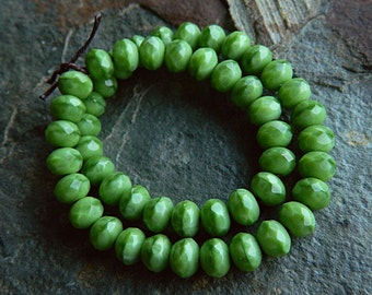 Coral Green Czech Rondelle Beads, Fire Polished beads, facetted glass donut beads, 5x7mm, Coral Spring Green (30pcs) NEW