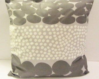 """Gray Marimekko pillow cover in authentic Jurmo fabric from Finland, 18"""" x 18"""" and 12"""" x 16"""", accent pillow, FREE SHIPPING Canada and US"""
