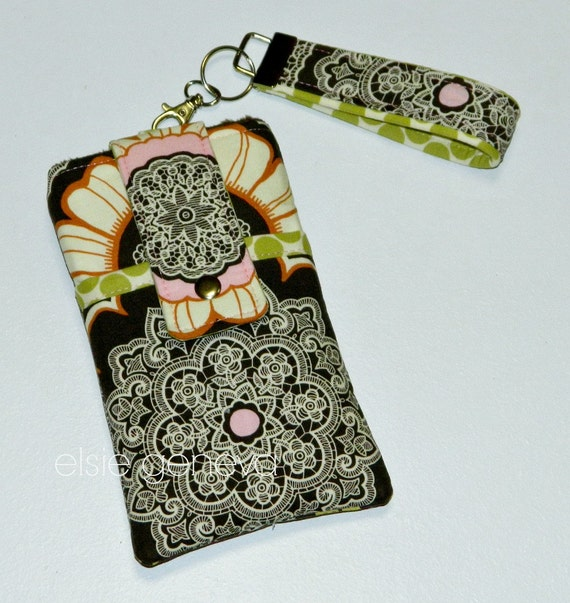Ready to Ship Vintage Brown Olive and Pink with Lace  Phone Case with Wristlet & Back Zipper Pocket iPhone Plus 4 5 6 Samsung Galaxy Note