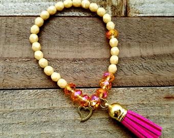 Beaded Stretch Bracelet - Heart Charm Bracelet - Pink Tassel - Boho Beaded Bracelet - Two Toned Bracelet - Gifts for Her