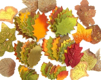 85 Artificial Fall Leaves, Glitter, DIY Cake Toppers, Woodland Flower Crown Headpiece, Orange Gold Green, Destash, Collage, Scrapbooking