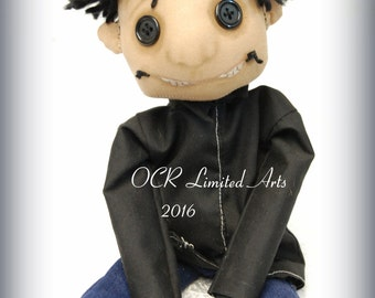 The other Wybie  Button Eye Doll Coraline Inspired  Creepy cute OOAK Handmade Art doll cloth doll collectible Gothic doll gift rag doll