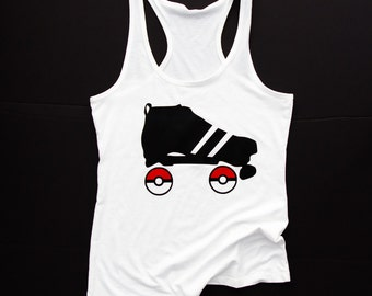 Pokemon Roller Derby Tank || White Scrimmage Tank ||  Roller Derby Clothing || Roller Derby Shirt || Pokemon Go || Roller Derby Skater