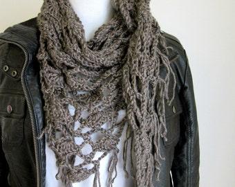 Crochet Shawl - Grey Triangle Scarf with Fringe - Fringed Scarf - Hand Knit