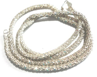 Sterling Chain Sparkle Rope Chain 24 Inch Solid Sterling Silver Twisted Sparkle Rope Chain 3.5 mm Wide Italian Weighs 24 Grams