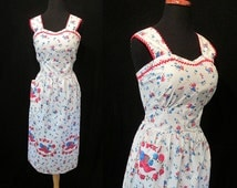 Clearance Adorable 1940's DEADSTOCK Novelty Print Cotton Border Print  Frock/ Summer Dress Vintage Dress Rockabilly USO VLV  Size-Large