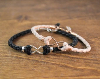 His and Hers Infinity Bracelet Set - Rose Gold, Silver, and Natural Leather