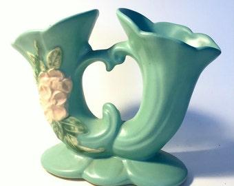 Vintage Weller Matte Glaze Wild Rose Vase, Green Weller Vase w/Applied Pink Wild Roses, Weller Green Bisque Vase, Matte Glaze Vintage Vase