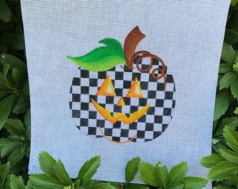 Halloween White and Black Checked Pumpkin - Jody Designs  #PK-bw