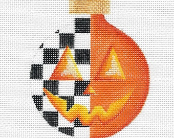 Orange with Black and White Check Pumpkin Needlepoint Ornament - Jody Designs #B229 ORANGE
