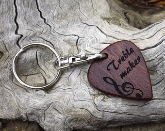 Guitar Pick Shaped Wooden Key Chain - Key Ring - Premium Quality - Laser Engraved - Jumbo Sized - Handmade With Rustic African Mahogany