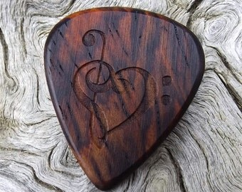 Wood Guitar Pick - Premium Quality - Handmade - Cocobolo Rosewood - Laser Engraved Both Sides - Actual Pick Shown - Mini Guitar Pick