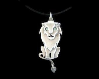 Lion necklace , Leo necklace, Sterling Silver Lion necklace , whimsical jewelry , animal necklace , Lion pendant, Leo pendant