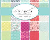 """SALE CANYON Charm Pack - Kate Spain for Moda - 5"""" Inch Precut Fabric Squares - Floral Charm Pack - Bright Cheerful Fabric"""