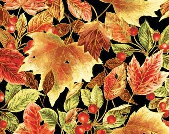 SALE Bountiful Harvest - Fall Leaves Fabric by Red Rooster - 1 Yard Cut - BTY - Autumn Fabric - Leaves on Black - Large Leaf Print
