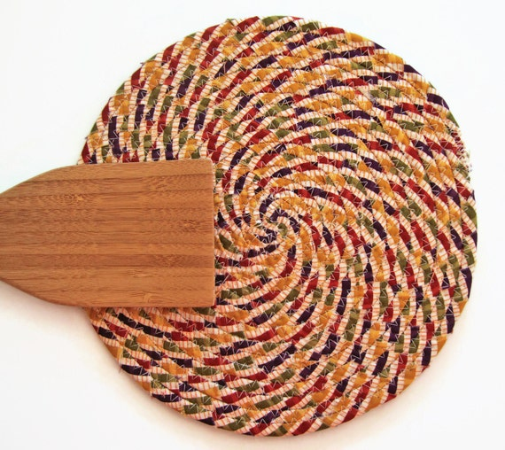 AUTUMN Striped Coiled Fabric Trivet - Handmade Trivet - Plant Coaster ...