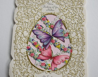 Vintage HALLMARK EASTER Mother CARD Greeting Die Cut Butterfly Embossed Flower Floral Garden Pink Blue Purple Diecut 1950s Thinking of You