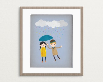 Rainy Day Love - Customizable 8x10 Archival Art Print