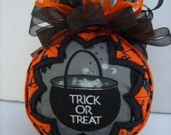 Christmas In July Sale/Trick or Treat/ Quilted Ornament/Halloween/Orange and Black/Decoration