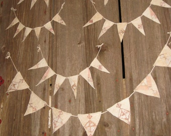Quilt Pennant Bunting Banner Baby Nursery Garland Glamping Flags Cottage Cabin Decor Gift Primitive Repurposed Quilt