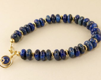 Royal Blue Lapis Gemstone Single Strand Gold Bracelet, Lapis Lazuli 14k Gold Filled Beaded Bracelet