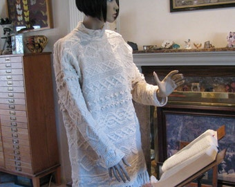 "Fabulous Vintage Ecru White Cable Knit Sweater Mini Dress- Hand Knit for ""Style New York"" in Ramie and Cotton"