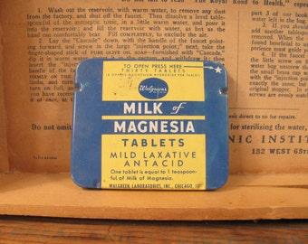 Tin - Vintage Milk of Magnesia  - 1950s - Walgreen's - Drug Store Brand - Pharmacy Collectible