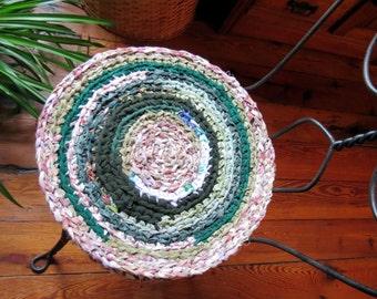 "round rag rug chair pads ""braided"" crochet rag rug Set of 2-  15""  shabby chic"