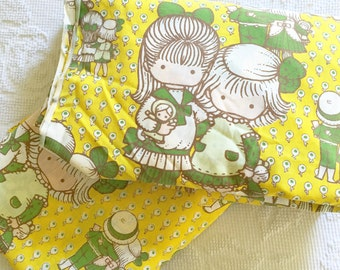 Adorable Vintage Joan Walsh Anglund TWIN Flat and Fitted Sheet Set Yellow