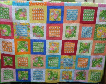 Summer Home Queen Quilt - Handmade Bright and Colorful - Beach