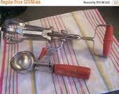 Valentines SALE Vintage Red Handled Cooking Utensils, Stainless Ice Cream Scoop & Hand Beater, 1940s, Ekco, Hand Mixer Beater