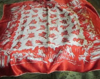 Equestrian Silk Scarf Vintage 70's