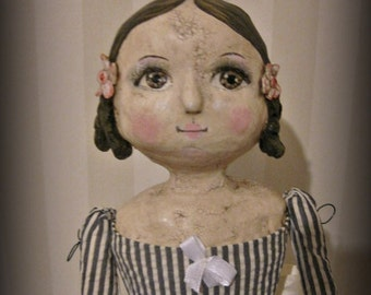 Papier mache doll  OOAK doll mix media