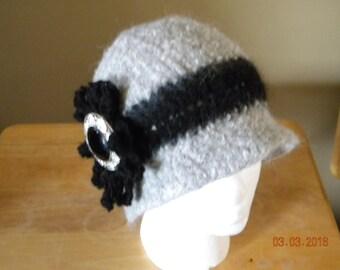 Felted  alpaca clouche hat