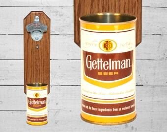 Wall Mounted Bottle Opener with Vintage Gettelman Beer Can Cap Catcher