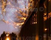 Holiday Decor, Travel Photography, Purple, Gold, Black, City Print, Modern, Abstract, Office Decor, Fairy Lights
