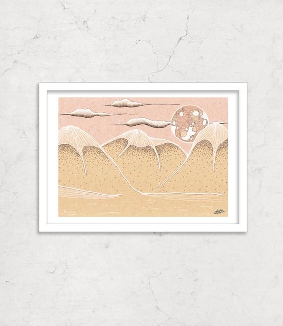 "Sugar Mountains illustration artprint 6""x 8"""