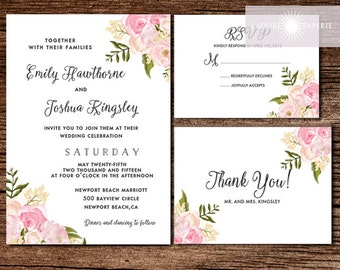 Floral Wedding Invitation, Printable Wedding Invitation Suite, Peony Wedding Invite, Watercolor Wedding Invite, Digital File, jadorepaperie