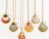 Gold Dipped or Encased Sunrise Shell Necklace