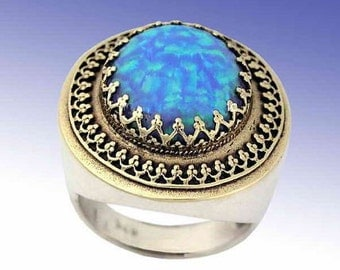 Blue opal ring, two tones ring, filigree ring, October stone, Sterling silver yellow gold ring, Gemstone ring - The King ring R1110EA