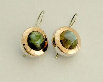 Gemstone earrings, labradorite earrings, sterling silver earrings, rose gold earrings, labradorite earrings - Green fields forever E7717