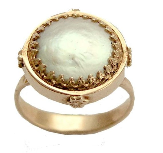 14K solid  gold ring, Victorian engagement ring, coin pearl ring, 14K rose gold ring, crown ring, single pearl ring - Snow white RG1247-1